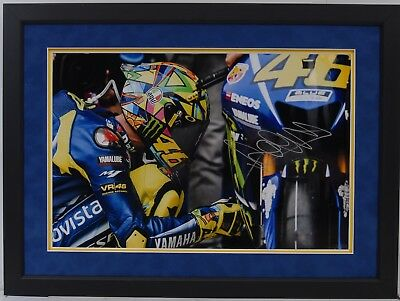 Valentino Rossi Hand Signed Yamaha Motogp Framed Photo Display Proof 9.