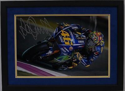 Valentino Rossi Hand Signed Yamaha Motogp Framed Photo Display Proof 11.
