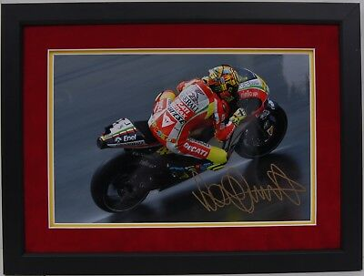 Valentino Rossi Hand Signed Ducati Motogp Framed Photo Display Proof.