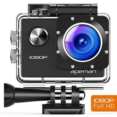 Apeman Action Camera 12 Mp Full Hd 1080P Waterproof Sports Cam With 170 Lcd Disp