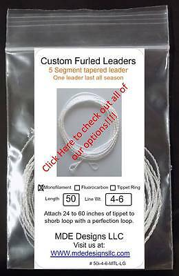 Fluorocarbon Tapered Furled Leader 50 Inch 4-6 WT Lines Clear