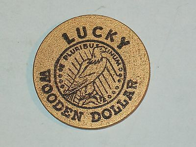 rare LUCKY WOODEN DOLLAR ~RODGERS CADILLAC, KNOXVILLE-TENN~ VHTF~ LOOK