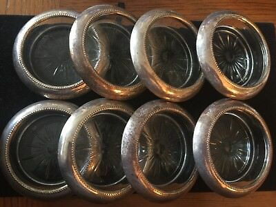 8 ANTIQUE FRANK M. WHITING STERLING SILVER CUT GLASS COASTERS Pat Pending #4