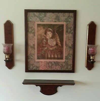 Homco Home Interior Angel Unaware Picture With Matching Sconces And Shelf