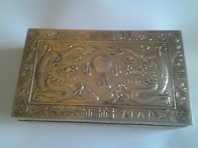 """ORNATE BRASS BOX - with Chinese Pattern - size - 6"""" x 3.5"""" x 2"""" approx"""