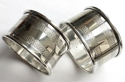 Pair of Antique Edwardian Silver Plated Napkin Rings In Excellent Condition