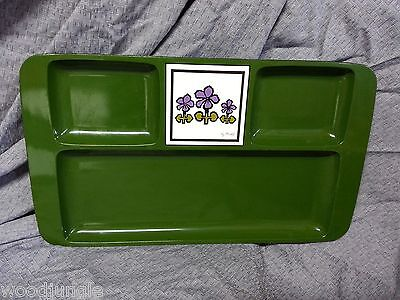 Vintage Mid Century DANISH MODERN GREEN  LACQUER WARE Tile Tray CHEESE appetizer