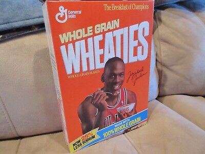 + card   WHEATIES FULL  Cereal Box 1989 12 oz MICHAEL JORDAN  Trivial Pursuit