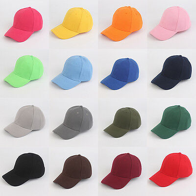 Mens Womens Plain Cap Style Cotton Adjustable Baseball Cap Blank Solid Hat
