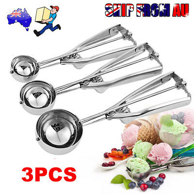 3Pc 4/5/6cm Cake Mechanical Cookie Dough / Ice Cream Scoop Stainless Steel Spoon
