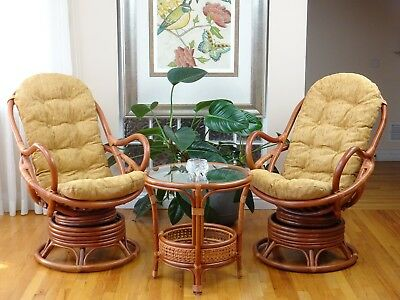 Set 2 Java Handmade Rattan Wicker Chair Light Brown Cushion With Pelangi Table