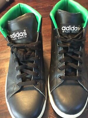 ADIDAS STAN SMITH Black/green Leather High Tops Rare 8.5 Men's