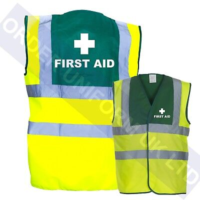 First Aid Printed Yellow Green Hi Viz Safety Vest High Vis Waistcoat medic S-3XL