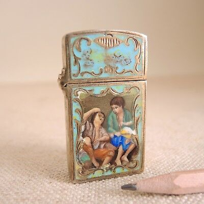 Antique 800 Silver Enamel Lighter Case fr Zippo Cigarette Transfer Painted Italy