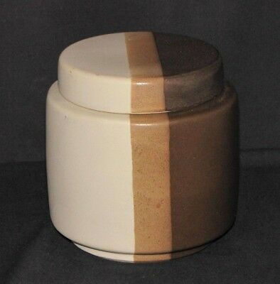 Vintage McCoy USA Pottery Striped Canister Pot Cookie Flour Jar with Lid