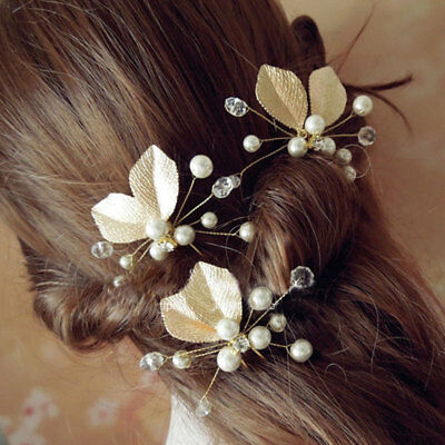 2pcs Bridal Bride Wedding Pearl Flower Pins Bridesmaid Hair Clip Hairdress Women