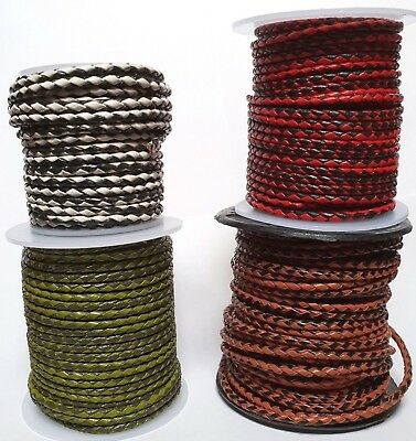 Braided LEATHER LANYARD Top Quality 3mm Round Two-Tone Lacing Cords Craft Supply