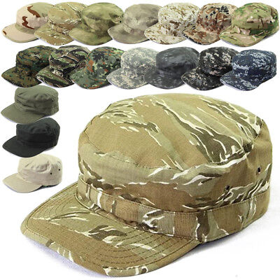 Mans Camouflage Flat-top Patrol Cap Army Green Military Soldier Visor Hats Great