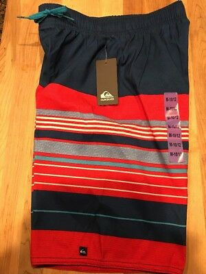 Quiksilver Boys Board Swim Shorts Lined - Red/White/Blue - Size M-10/12    NWT