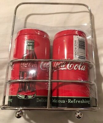 """Coca-Cola Salt And Pepper Tin Shakers With Holder, """"delicious - Refreshing"""" New!"""