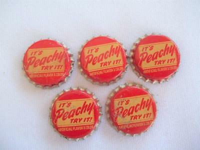 LOT OF 5 VINTAGE 1960's  UNUSED IT'S PEACHY TRY IT! SODA POP BOTTLE CAPS CORK