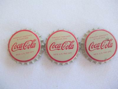 3 VINTAGE 1960's UNUSED COCA-COLA COKE SODA POP BOTTLE CAPS CORK LINED
