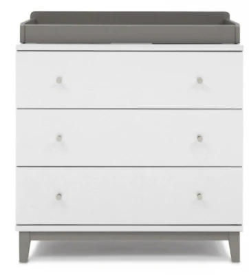 Soho 3 Drawer Dresser White/Grey