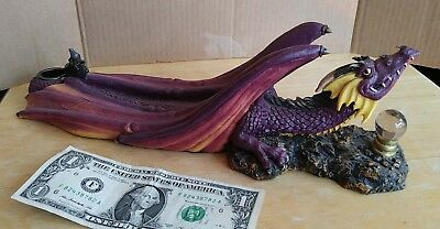 Dragon Mythical Gothic Resin Multi Color Incense Candle Burner 13 x4 Adams Apple