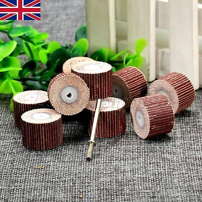 10pcs 20mm Sanding Sandpaper Flap Wheel Pads 240 Girt Set Power Rotary Tool UK