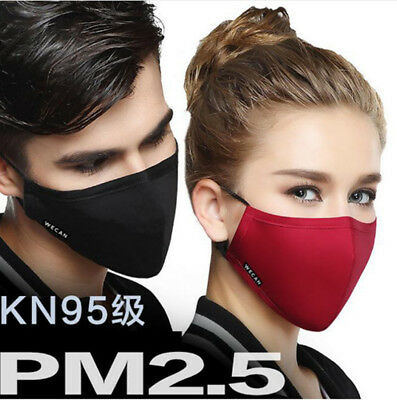 Cotton Anti-Dust Face Mouth Mask Black Cycling Cloth Respirator with 8 Filter