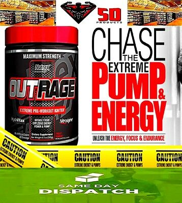 Nutrex OUTRAGE | 30 Servings | Maximum Strength Pre-Workout Booster | RRP $69.99