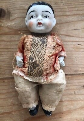 """Antique Vintage Small 5"""" JAPANESE BOY Porcelain DOLL W/ Clothing Old Asian"""