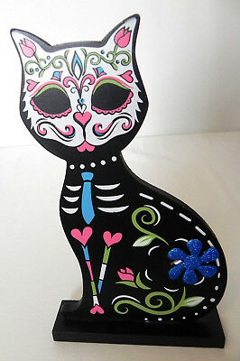 """Wooden MDF Psychedelic Black Cat  10"""" X 5.5"""" X 1.5"""""""