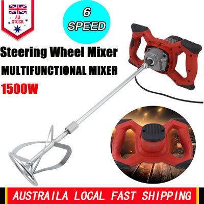 Electric Drywall Mortar Mixer 1500W Plaster Cement Tile Adhesive Render Paint AU