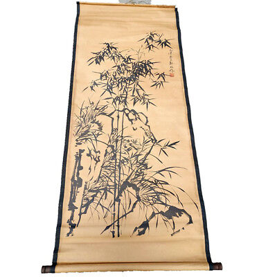 Chinese Hanging Draw Hand-Painted Bamboo Mountain Calligraphy Scroll Painting