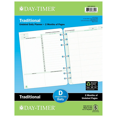 Day-Timer Undated Daily Planner Journal Loose Leaf Refill Personal Supplies