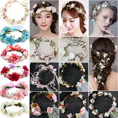 Garland Boho Flower Crown Women Hairband Headband Beach Party Bride Wedding Lot