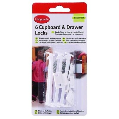 Cupboard and Drawer Locks 6 Pack - Clippasafe