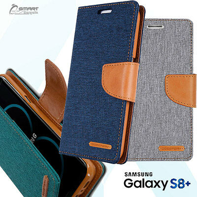 Canvas Diary Jeans Wallet Flip Tpu Case Cover For Samsung Galaxy S8 Plus Note 8