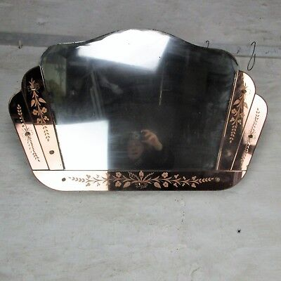 Pink Clear Venetian Mirror Ornate  Etched Cut to Clear Glass  Art Nouveau Deco