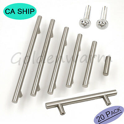20Pcs Cabinet Knobs Brushed Stainless Steel Kitchen Drawer Pulls T Bar Handles
