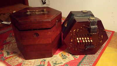 Fine Cased Antique Wheatstone 48 Key English Sistem Concertina antica inglese
