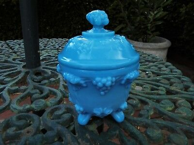 ANTIQUE FRENCH OPALINE FOOTED GLASS CANDY JAR c1905