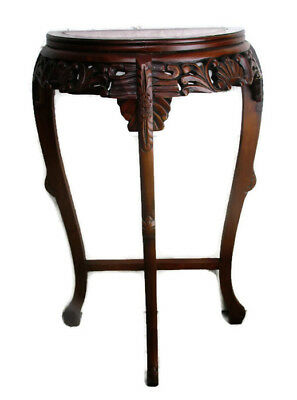 Vintage Carved Wood  Oriental Marble Top Chinese Half Moon Hall Console Table