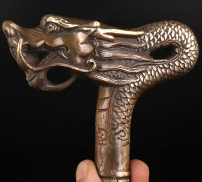 Bronze Statue Dragon's Sacred Walking Stick Handle Accessories Collection