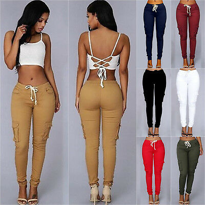 Women Pocket Sports Pencil Pants Slim Fit Jogger Sweatpants Slim Casual Trousers