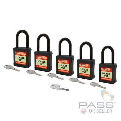 Lockout Fully Insulated Nylon Padlock - Key Different + Master - 5 Pack (Black)