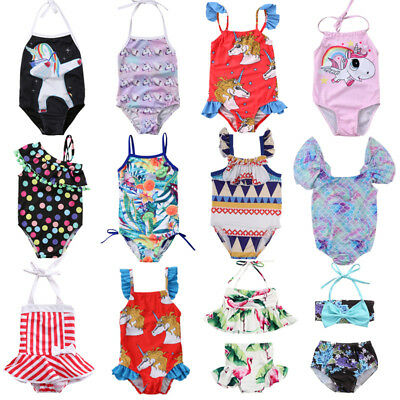 Toddler Kids Baby Girls BIkini Set Swimwear Swimsuit Bathing Suit Beachwear AU