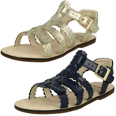 Clarks Girls Loni Moon Blue Patent Or Gold Leather Sandals