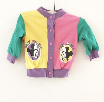 Vintage Disney Babies Minnie Mouse Colorblock Cardigan Baby Girl Size 0-6 Months
